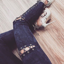 KL824 Fashion lace up hole sexy slim elastic leggings women skinny high waist pencil pants long trousers