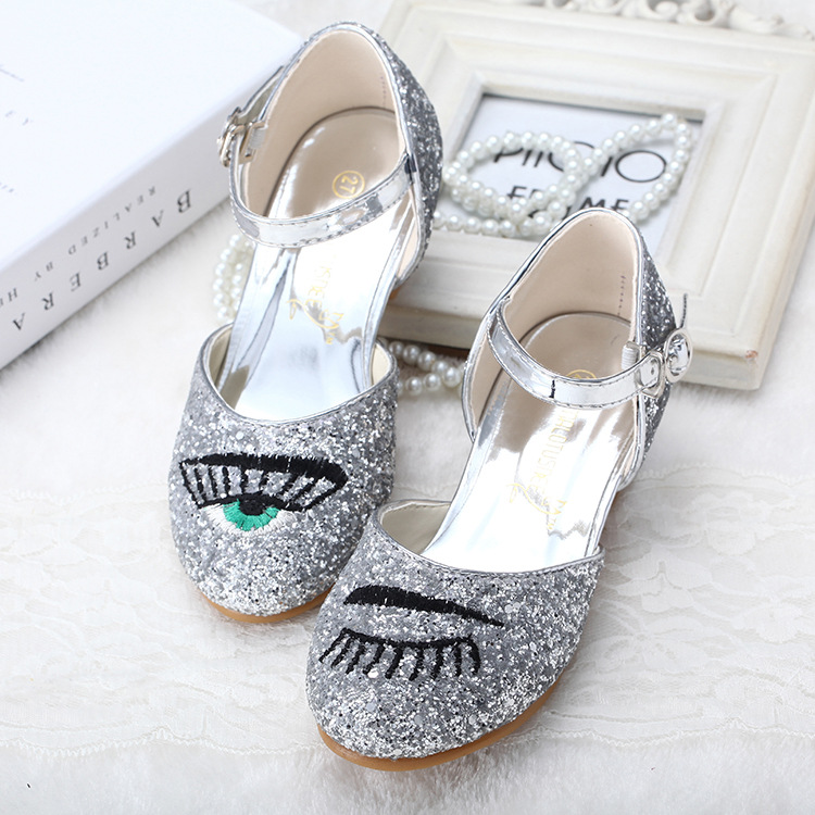 Koovan Children Sandals 2017 Children Shoes New Glass Heel Dance Latin Shoes Performance Eyes Eyelashes Sequins Bright Girls