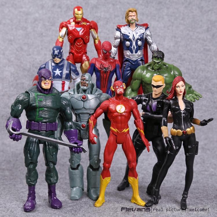 Superheroes Avengers Toys Thor Iron Man Hulk Black Widow Hawkeye The Flash PVC Action Figures 18cm 10pcs/set 2017 new the avengers hulk flash mask led glowing hulk cartoon mask adult