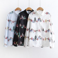 New 2018 Spring Summer Women Thin Shirt Chiffon Blouses Print Floral Style Clothing Full Sleeve Ladies