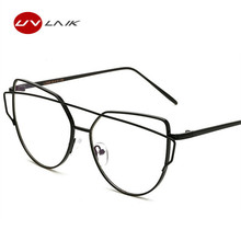 UVLAIK Women Optical Spectacle Transparent Vintage Metal Eyeglasses With Clear Lens Glasses Fashion Double Beam Eyewear Frames