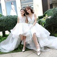 Family Matching Outfits Mum Mother Daughter Wedding Dress Girls RufflesTutu Dress Skirt Mom and Daughter Dress White Color