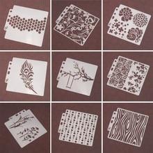 9 teile/satz Baum Airbrush Malerei Schablone DIY Scrapbooking Stanzen Album Präge Papier Karten Vorlage Handwerk Wiederverwendbare home deco