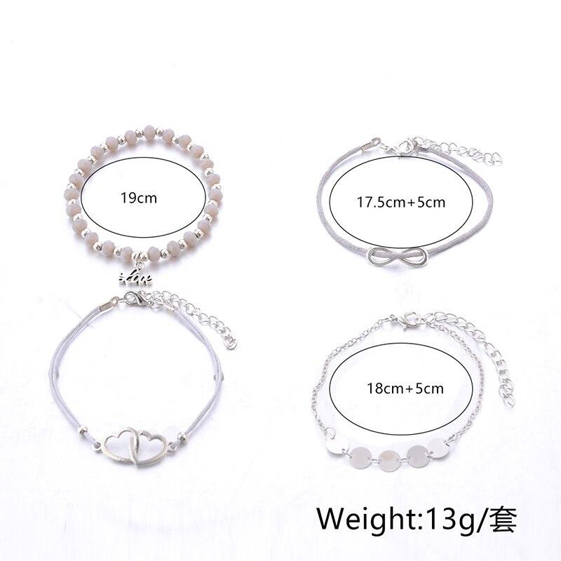 4Pcs Lot Vintage Stone Beads Charm Bracelet Set For Women Double Heart Love Infinite Chain Bracelets Bohemian Jewelry in Charm Bracelets from Jewelry Accessories