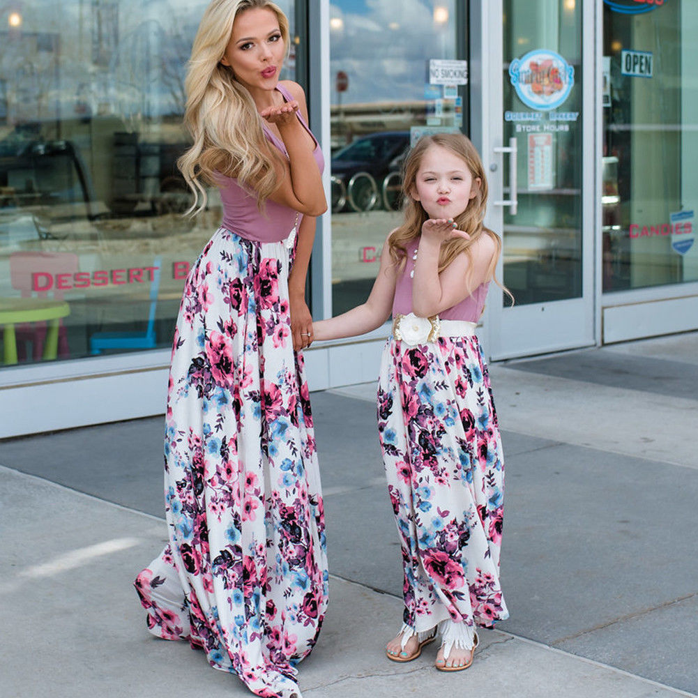 Women Mother Daughter Matching Dress Summer Girl Party Dresses Clothes Outfits*