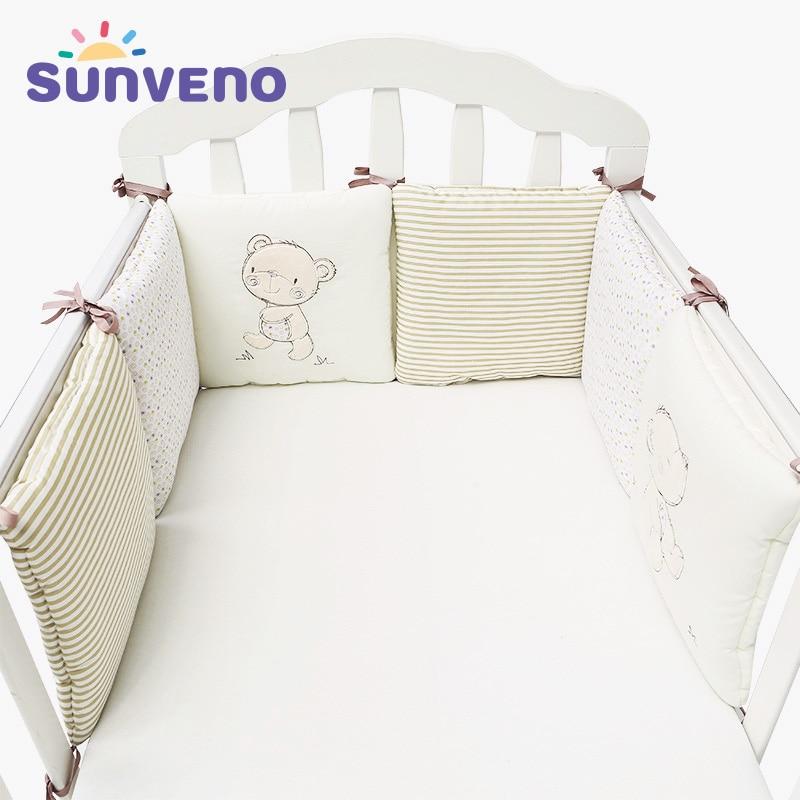 Cream Baby Crib Bumper Wrap Around Protection Cot Bumpers Crib Bumper Nursery Bedding 4 Piece Set
