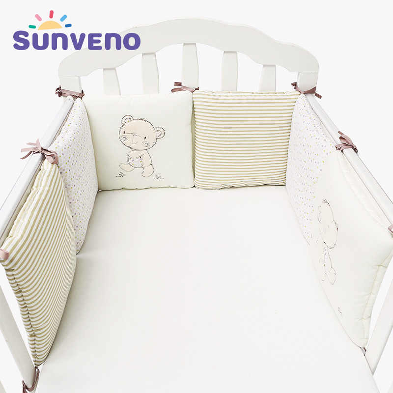 SUNVENO удобная детская кровать бампер мультфильм бамперы для детской кроватки хлопок младенческой бампер 6 шт./компл. постельных принадлежностей