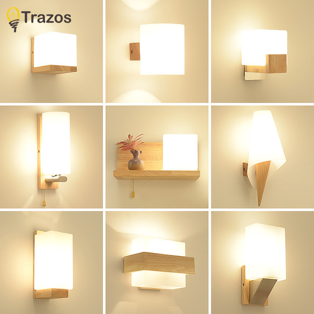 Trazos Nordic Wood Wall Lamps Modern Mounted Luminaire Iron Sconce For Bedside Light Bedroom