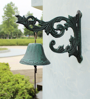 Scroll Flower Bracket Door Bell French Style Dark Green Cast Iron Wall Mount Patio Garden Gate Bell Yard Outdoor Home Decor