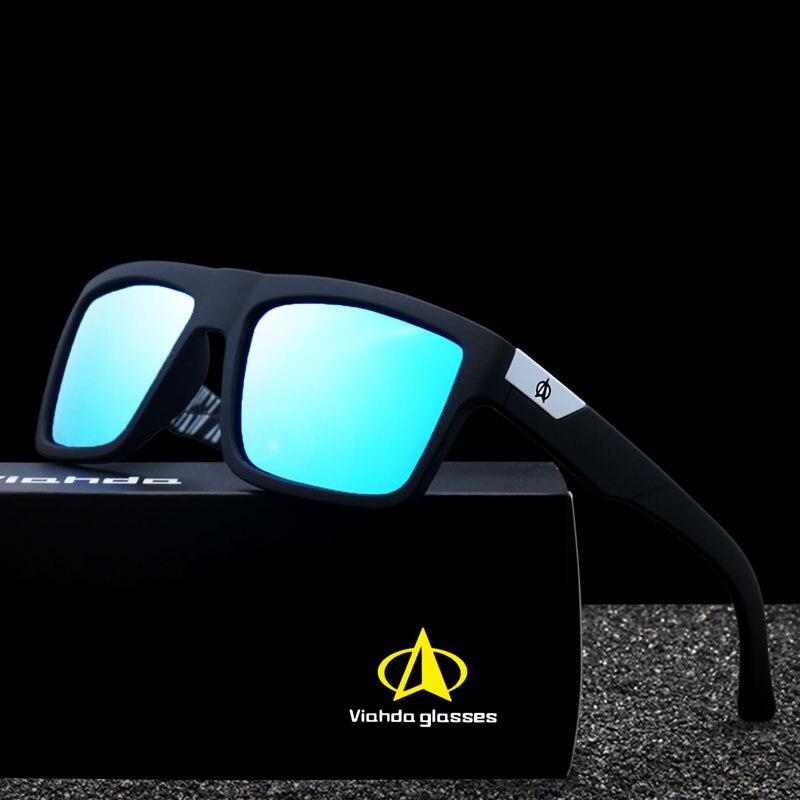 5260823b0d40b Viahda 2019 Nova Marca Quadrado de Viagem Legal Polarizada Óculos De Sol  Dos Homens Óculos De