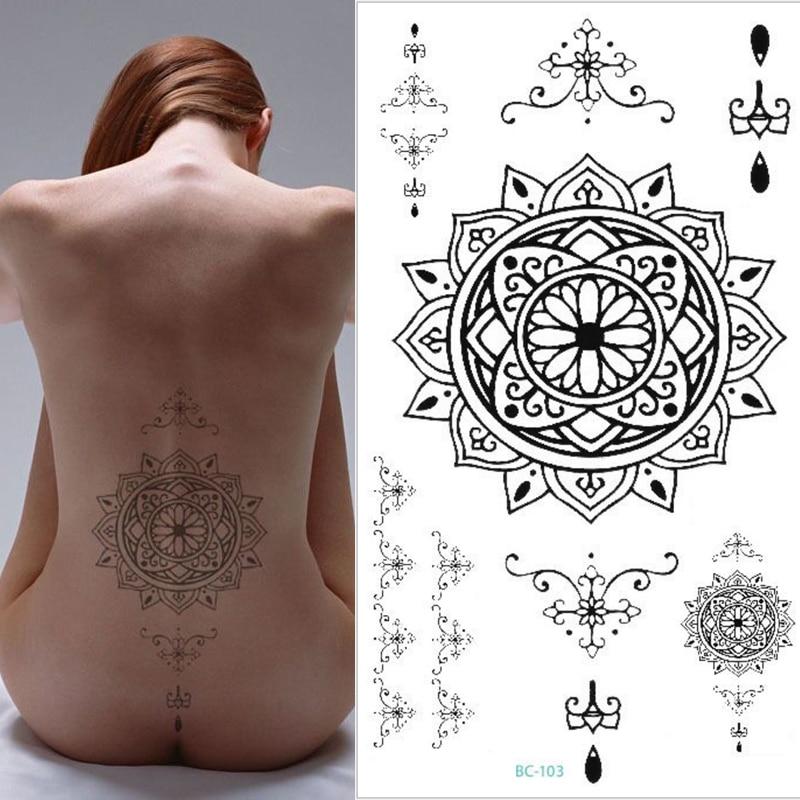 1pc Black Men Women Big Scar Cover Flash Tattoo Compass Dreamcatcher Sternum Tattoos Body/back Under Breast 24X13.8cm 23models