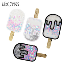 IBOWS Sequin Acrylic Liquid Quicksand Pacth Ice Cream Patches Cover for Handmade Phone Case Girl Hair Accessories DIY Suppliers