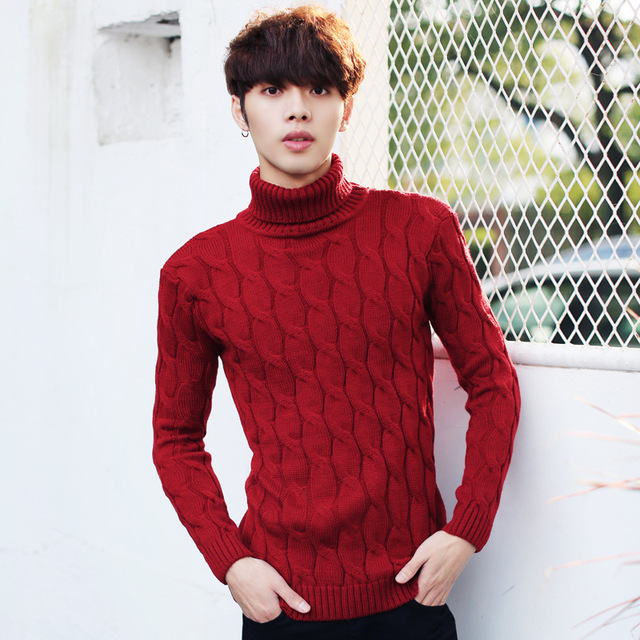 Men Thicken Wool Autumn Winter Knitted Turtleneck Red Sweater ...