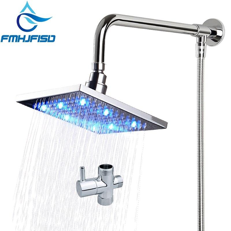 אמבטיה מקלחת ברז אביזרי כיכר LED מקלחת ראש מקלחת זרוע מתפיחה צינור Diverter מחסנית Valve עבור לבחור