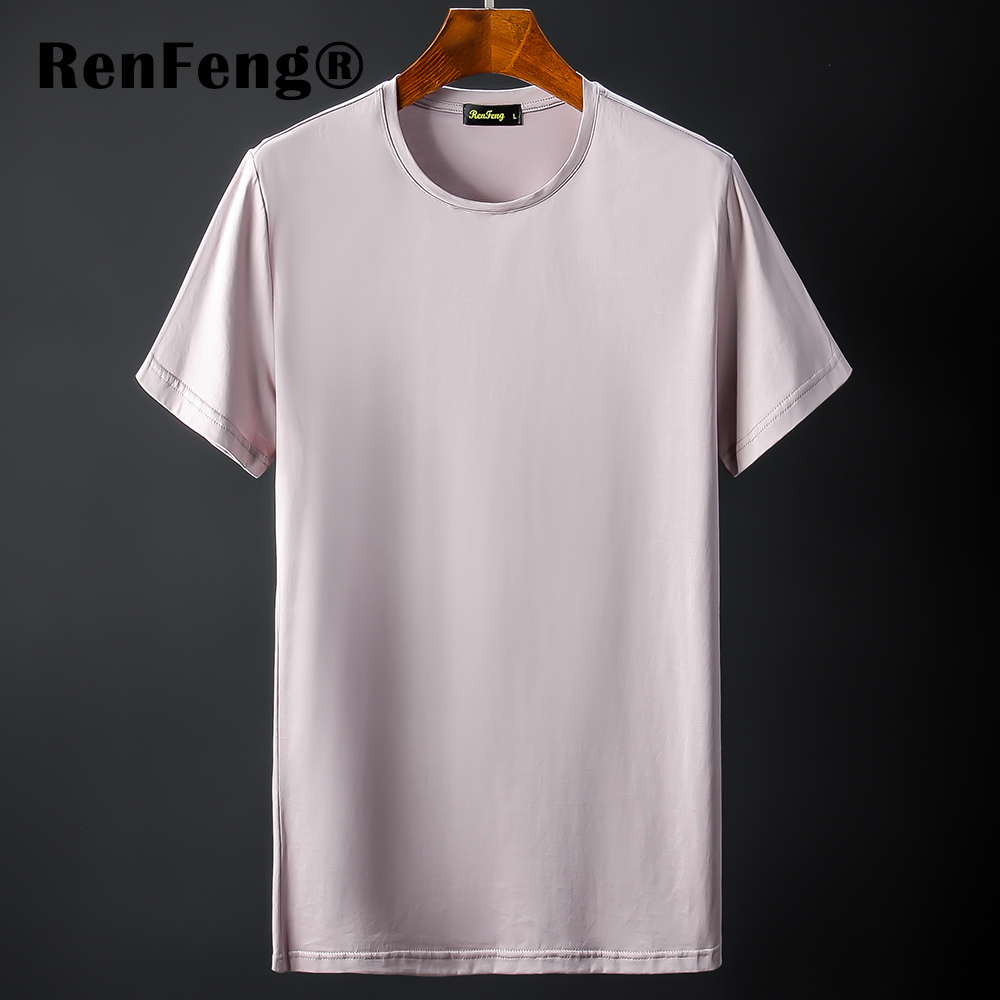 New Blank black Mercerized Cotton Short Sleeve Men\`s T-Shirt Underwear Round Collar Ice Silk Cool T-Shirt Slim Blusa Tops Summer (8)
