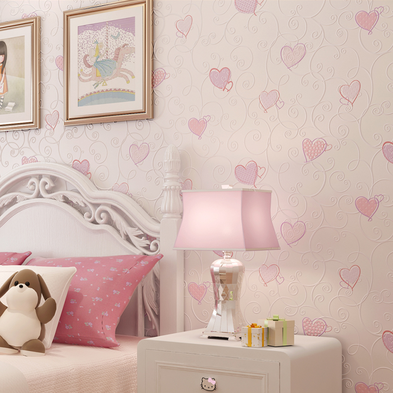 3D Pink Love Heart Cartoon Princess Girl Room Background Wallpaper Roll 3D Embossed Flocking Non Woven Kids Wall Covering Paper non woven bubble butterfly wallpaper design modern pastoral flock 3d circle wall paper for living room background walls 10m roll