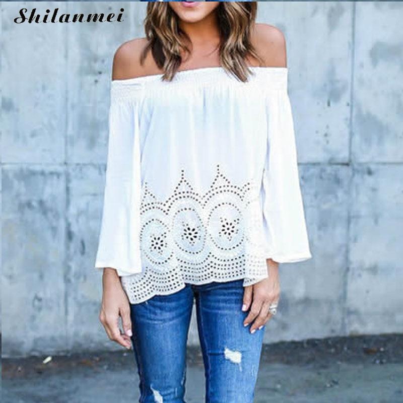 blouse moda mujer blusas para mujer shirts blusas y camisas femininas de inverno Cotton Women sexy Blouses off shoulder hollow