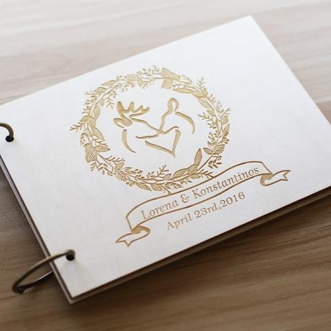 Guestbook do Casamento Livro de Visitas com Veados Alternativo para o Presente de Casamento Rústico Personalizado Projeto Lembrança