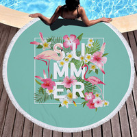 LAISIDANTON New Korean Flamingo Print Beach Round Tassel Scarf Summer Swimwear Cover Scarves Yoga Mat Picnic