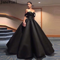 JaneVini Elegant Black Ball Gown Prom Dress for Plus Size Woman Long Beaded Satin Evening Gown Lace Up Back Formal Gala Dresses