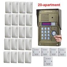 ZHUDELE домашняя охранная система внутренней связи разблокировки здания видео-телефон двери Система для 20-квартиры металлический водонепроницаемый открытый колокольчик