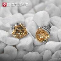 GIGAJEWE удивительные сердце с серебряные серьги с шипами 1.5ct глубокий Мёд Цвет Муассанит камень серьги для Для женщин Модные украшения