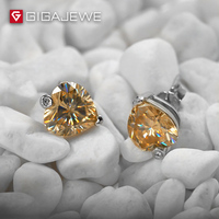 GIGAJEWE Amazing Heart cut Silver Ear Studs 1.5ct Deep Honey Color Moissanite Stone Earrings For Women Fashion Jewelry