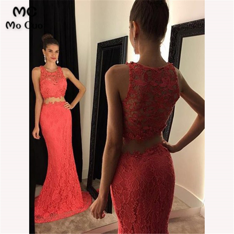 2018 Two Pieces Gown Mermaid Evening Dresses Long with Lace Prom Dresses Prom Party Dress Illusion