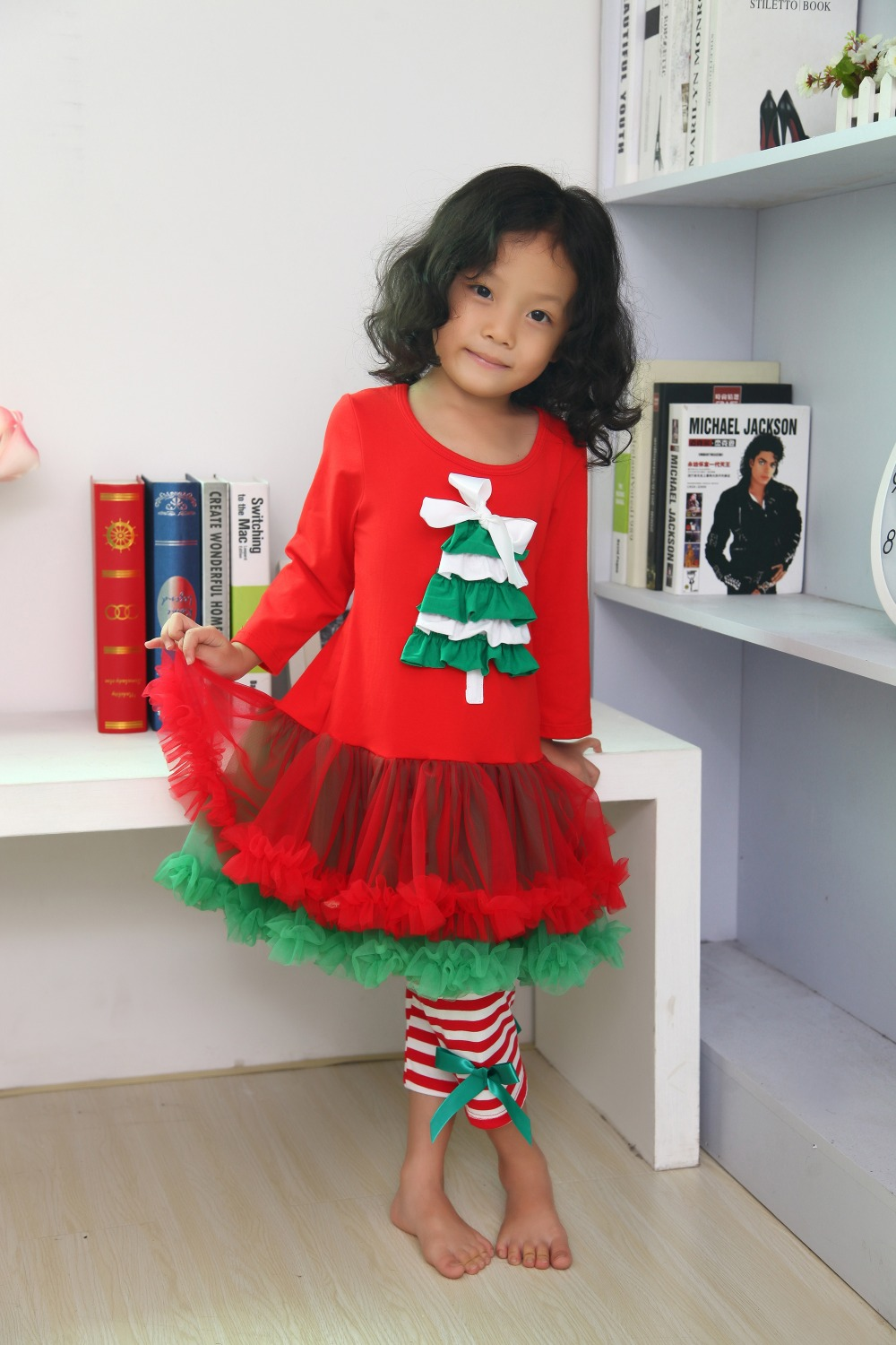 Christmas dress boutiques - Christmas Clothes With Tutu Dress Girls Xmas Outfit Girl Boutique Ruffle Pants Long Sleeve Baby Girl