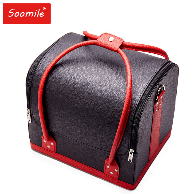 Professional Cosmetic Organizer High Grade PU Leather Make Up Suitcase Large Capacity Makeup Organizer Case Travel Storage Box