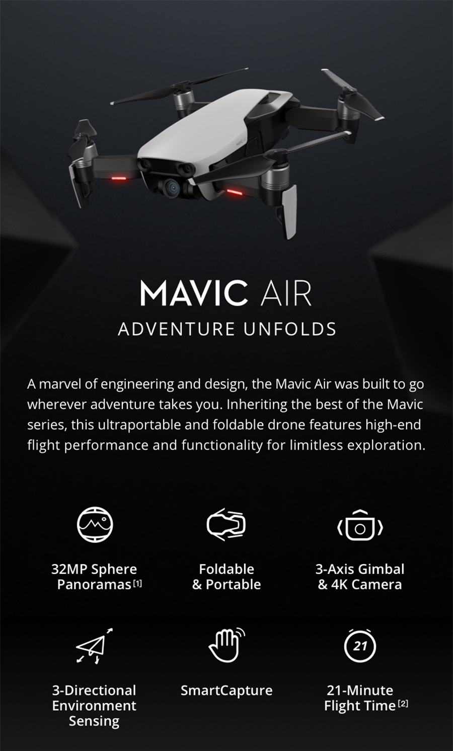 DJI Mavic AirMavic Air Fly More Combo Drone 4K 100Mbps Video 3 Axis Gimbal Camera