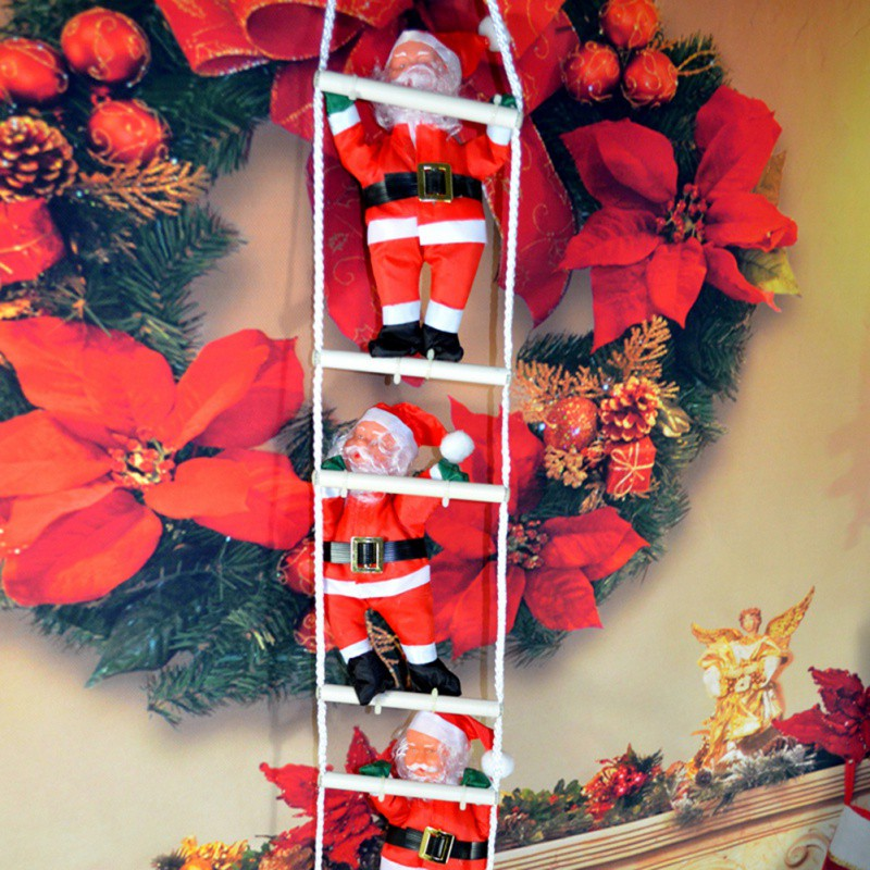 ladder christmas santa claus doll christmas tree new year decorations drop ornaments christmas home party decoration in pendant drop ornaments from home