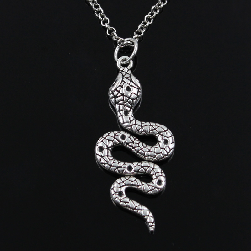 New Fashion Snake Cobra Pendants Round Cross Chain Short Long Mens Womens Silver Color Necklace Jewelry Gift