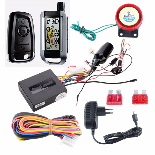STEELMATE 986XO rechargeable two way motorcycle alarm system with LCD transmitter, remote engine start stop shock sensor warning