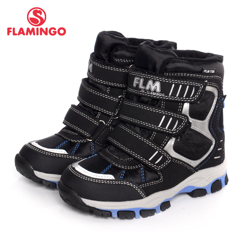 FLAMINGO Brand Winter Snow Boots Anti-slip Keep Warm Wool Orthotic Arch Support Sewing Size 31-35 Kids Shoes for Boy W6YC021M gsou snow brand winter ski suit men ski jacket pants waterproof snowboard sets outdoor skiing snowboarding snow suit sport coat