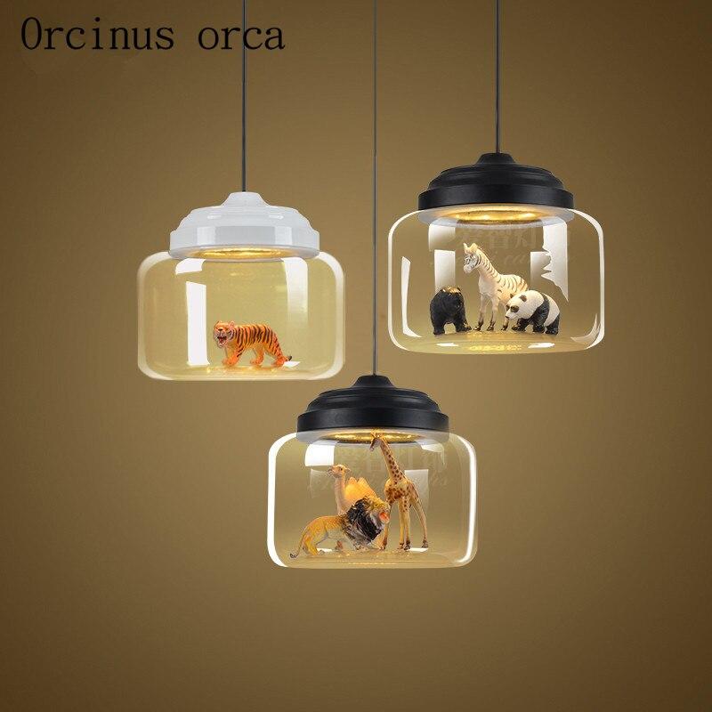 Nordic simple animal glass chandelier living room coffee bar bar Chandelier Postage free цена