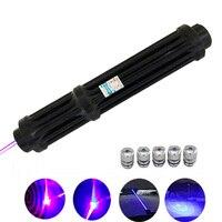 Verlängern Blau Laser-Pointer Wiederaufladbare 18650 Batterie Laser anblick Taschenlampe 450nm 10000m Fokussierbar Taschenlampe brennen spiel