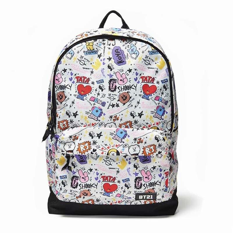 Kpop BTS Bangtan Boys Cartoon BT21 Rucksack Leinwand Studenten Tasche CHIMMY COOKY TATA Jungen Mädchen Reise Laptop Tasche