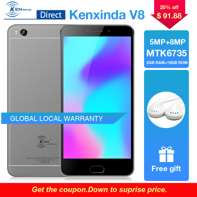 Original Kenxinda V8 4G 5.5 inch Fingerprint Mobile Phone 3000mAh Dual SIM Cards 16GB ROM Quad Core Android Smartphone+Earphone