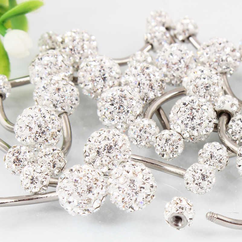 בטן טבעת אופנה אישה גוף פירסינג תכשיטי טבור טבעת rhinestones כדורי טבור בר 14G נירוסטה משלוח חינם