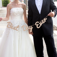 Best Day Ever Wooden Wedding Sign Just Married Wedding Bunting Banner Western Decoration Garland Photo Booth