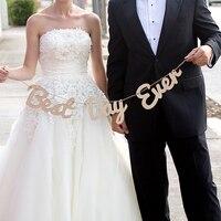 Giorno più bello Mai di Nozze di Legno Segno Appena Sposato Wedding Banner Bunting Occidentale Decorazione Garland Photo Booth Prop Photobooth
