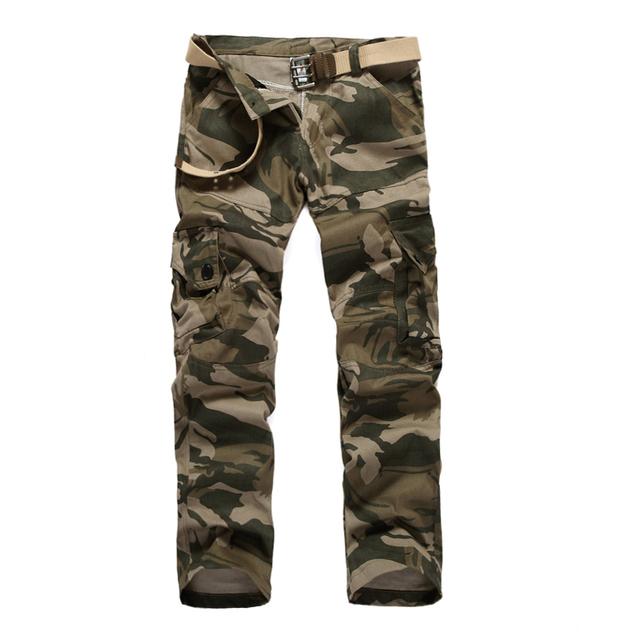 Envío libre 2016 de primavera y otoño nuevos hombres de camuflaje pantalones de gran tamaño multibolsillos pantalones casuales de herramientas