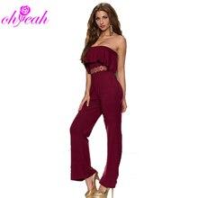R7983 Strapless jumpsuit for women 2015 Sexy women jumpsuit ohyeah Jumpsuit with ruffles Hot sale bodysuit new Fashion Jumpsuit