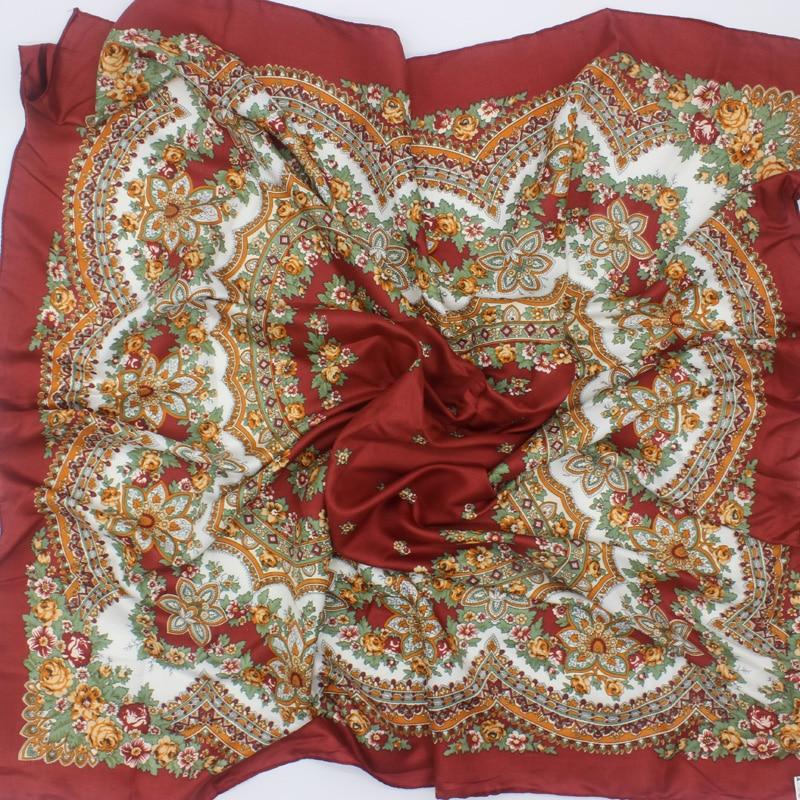 2018 New Design Fashion Flower Square Silk   Scarf   Luxury Cashew Polyester Headband Shawl&  Wrap   Women Foulard Bandana Satin 90*90cm