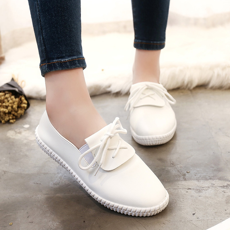 New arrival Lace-up Women Zapatos Mujer Women PU Leather Classic Casual Flats Shoes Women's Female Round Toe Dirving Loafers цены онлайн