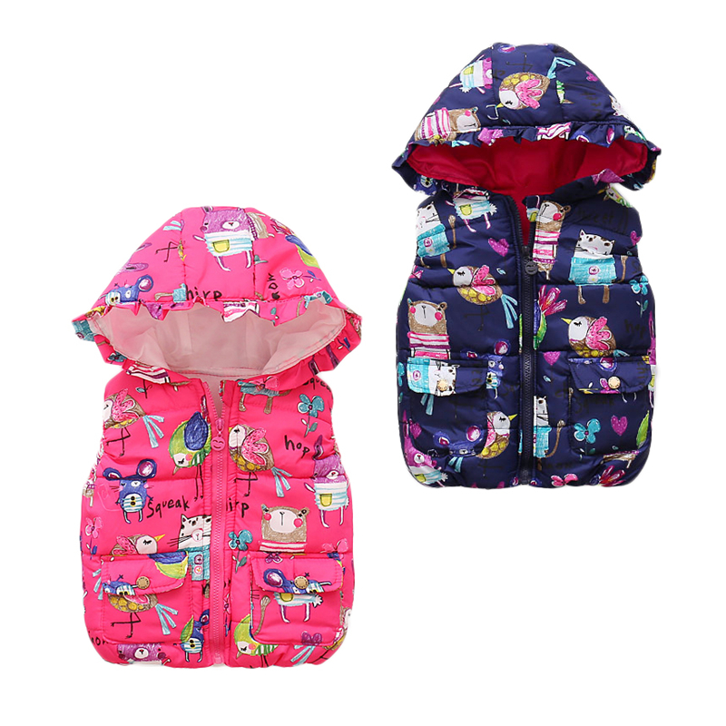 2017 Autumn winter children clothes new girls Outerwear&Coats Animal Graffiti hooded Girls Vest Jackets Baby Girl Warm Waistcoat kids vest children s girls vest hooded jacket winter autumn waistcoats for boy baby outerwear coats big teens girl clothes