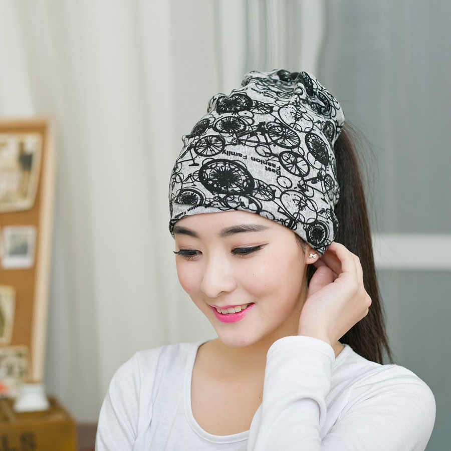 0f7117650bf9d0 ... 1PC New Woman Multifunctional Beanies Spring & Autumn Gorros Womens  Beanie Hat For Women 3 Way ...