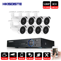 HKIXDISTE 8CH 5MP CCTV Camera System AHD DVR 8PCS 5.0MP HD IR indoor Outdoor Home Security Camera P2P Video Surveillance Kit