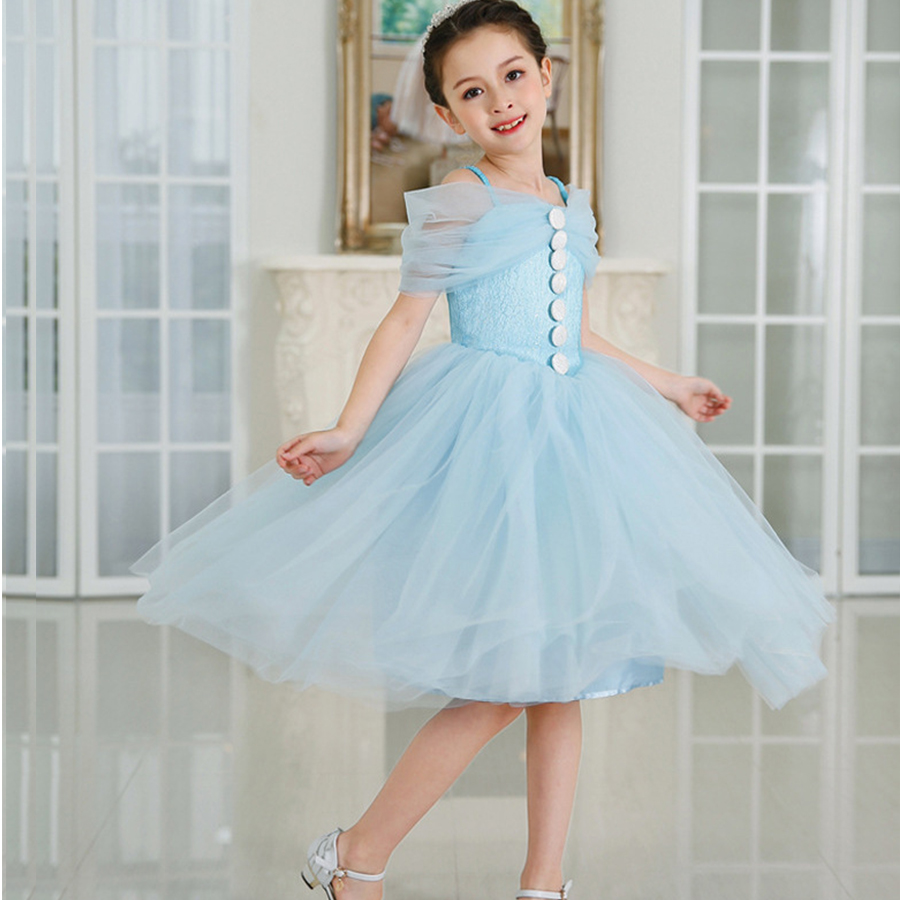 christmas Princess Cinderella dress Girls blue formal dress baby ...